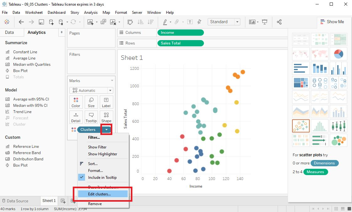 Tableau Data clusters in Scatter plots Step 5